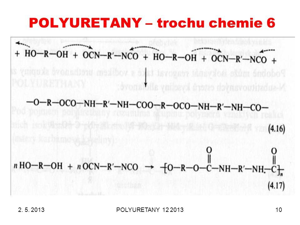 POLYURETANY – trochu chemie 6 2. 5. 2013POLYURETANY 12 201310