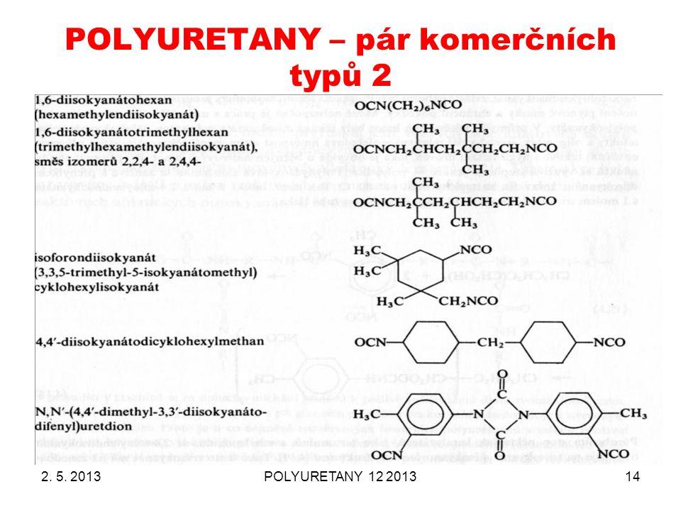 POLYURETANY – pár komerčních typů 2 2. 5. 2013POLYURETANY 12 201314