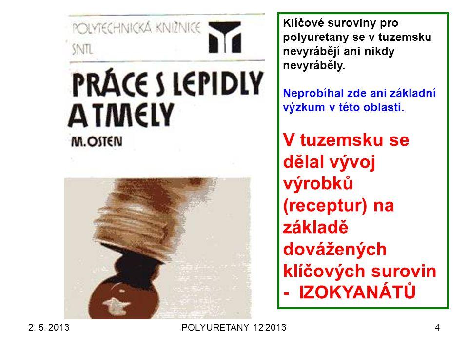 2. 5. 2013POLYURETANY 12 20134 Klíčové suroviny pro polyuretany se v tuzemsku nevyrábějí ani nikdy nevyráběly. Neprobíhal zde ani základní výzkum v té
