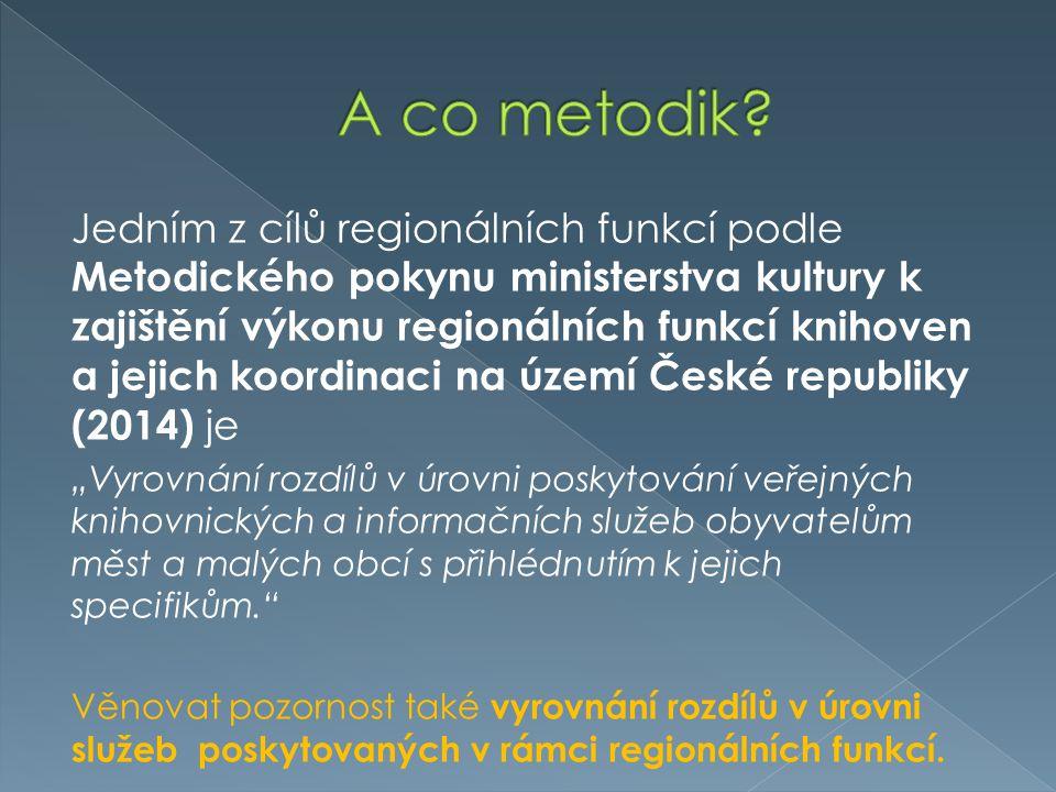 Jedním z cílů regionálních funkcí podle Metodického pokynu ministerstva kultury k zajištění výkonu regionálních funkcí knihoven a jejich koordinaci na