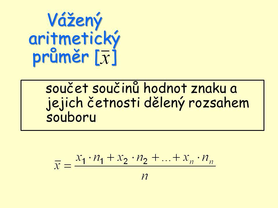 Vážený aritmetický průměr [ ] součet součinů hodnot znaku a jejich četnosti dělený rozsahem souboru