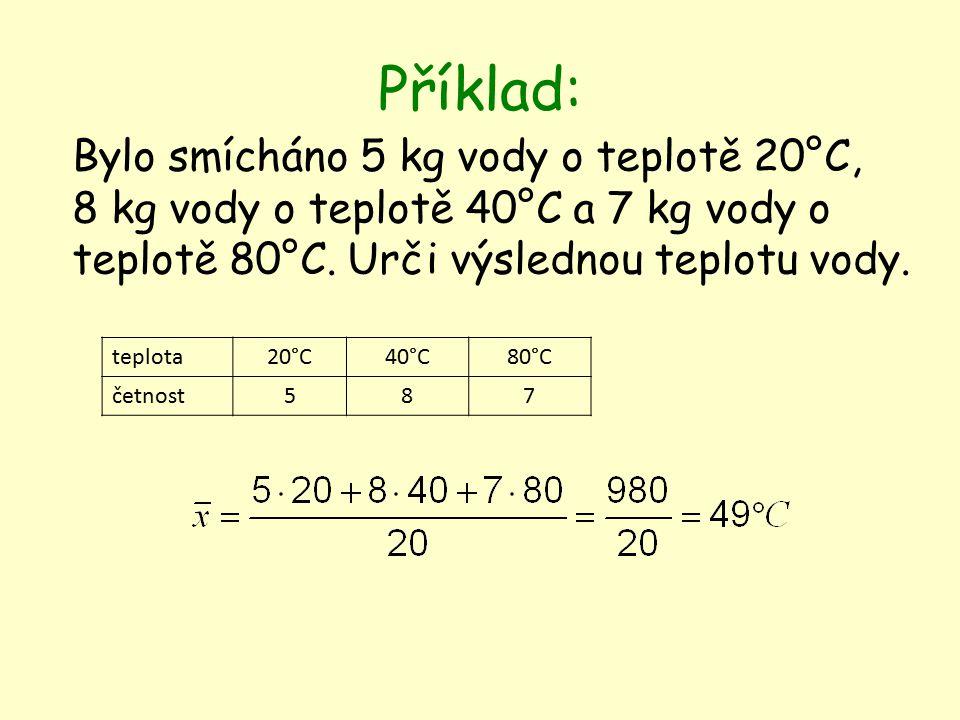 Příklad: Bylo smícháno 5 kg vody o teplotě 20°C, 8 kg vody o teplotě 40°C a 7 kg vody o teplotě 80°C.