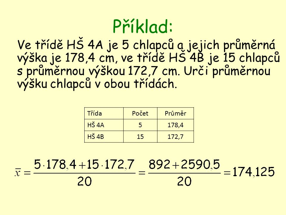 Příklad: Ve třídě HŠ 4A je 5 chlapců a jejich průměrná výška je 178,4 cm, ve třídě HŠ 4B je 15 chlapců s průměrnou výškou 172,7 cm.