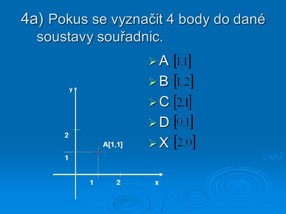 4a) Pokus se vyznačit 4 body do dané soustavy souřadnic. AAAA BBBB CCCC DDDD XXXX x12 1 2 A[1,1] y