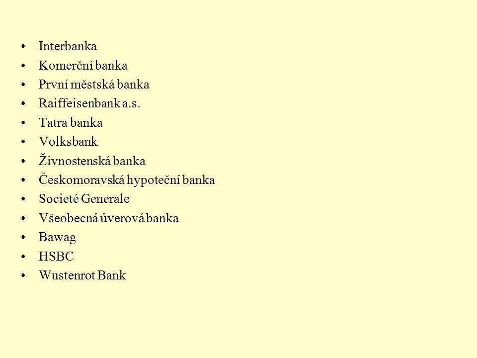 Interbanka Komerční banka První městská banka Raiffeisenbank a.s. Tatra banka Volksbank Živnostenská banka Českomoravská hypoteční banka Societé Gener