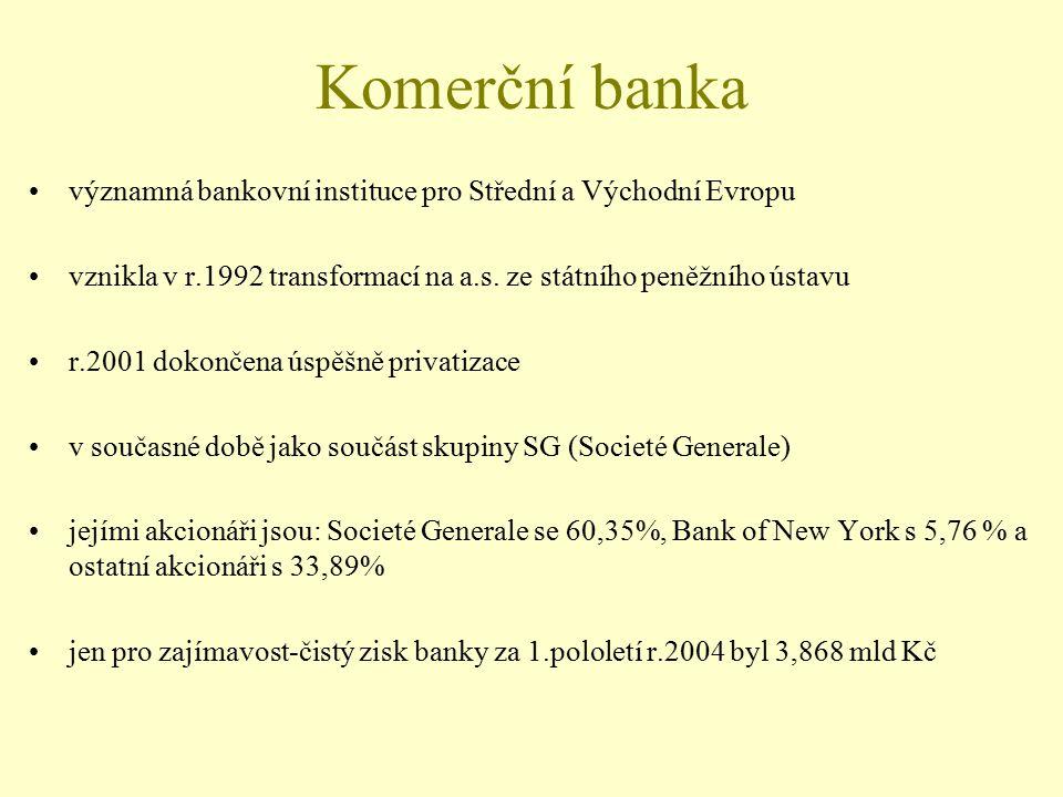 Komerční banka významná bankovní instituce pro Střední a Východní Evropu vznikla v r.1992 transformací na a.s. ze státního peněžního ústavu r.2001 dok