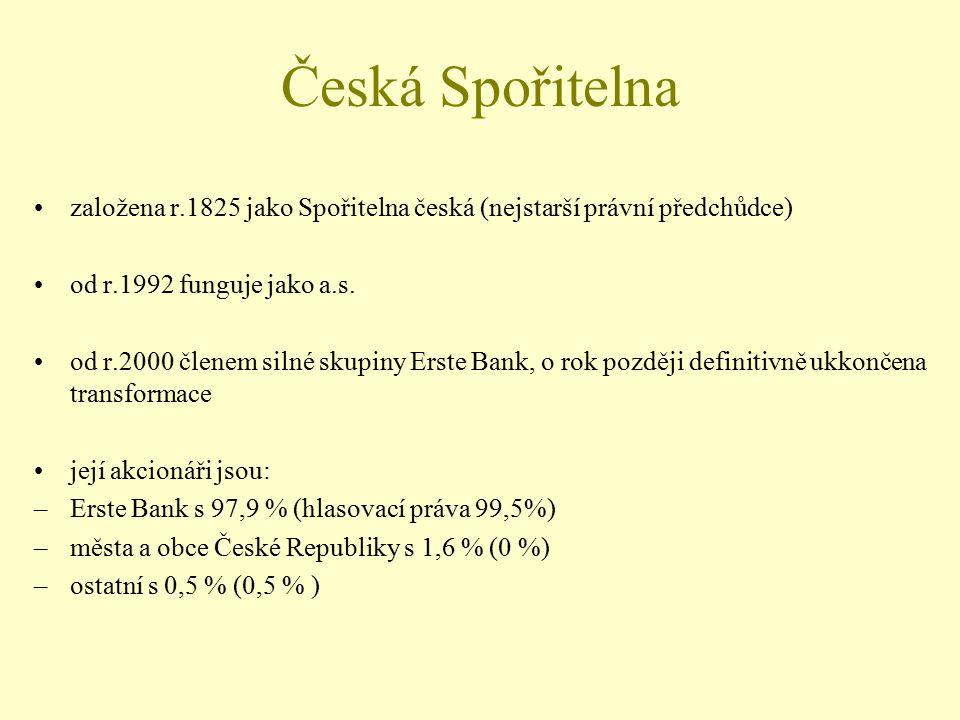 Česká Spořitelna založena r.1825 jako Spořitelna česká (nejstarší právní předchůdce) od r.1992 funguje jako a.s. od r.2000 členem silné skupiny Erste