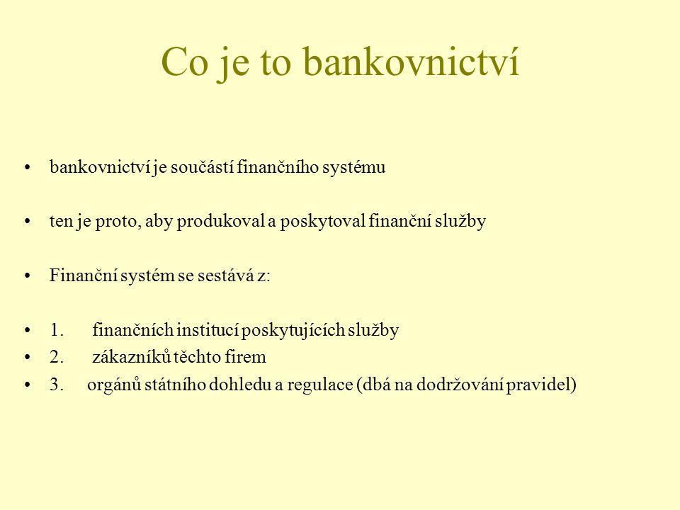Co je to bankovnictví bankovnictví je součástí finančního systému ten je proto, aby produkoval a poskytoval finanční služby Finanční systém se sestává