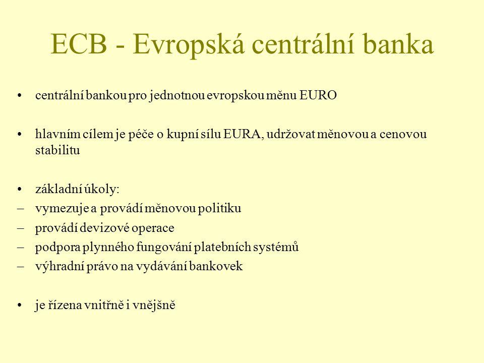 ECB - Evropská centrální banka centrální bankou pro jednotnou evropskou měnu EURO hlavním cílem je péče o kupní sílu EURA, udržovat měnovou a cenovou