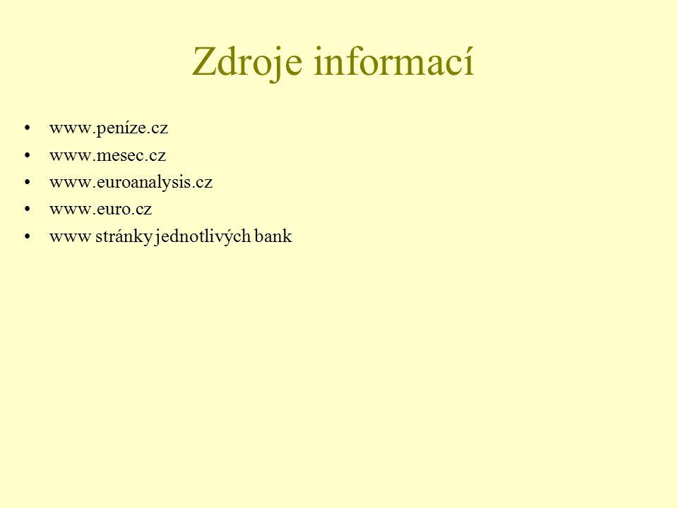 Zdroje informací www.peníze.cz www.mesec.cz www.euroanalysis.cz www.euro.cz www stránky jednotlivých bank