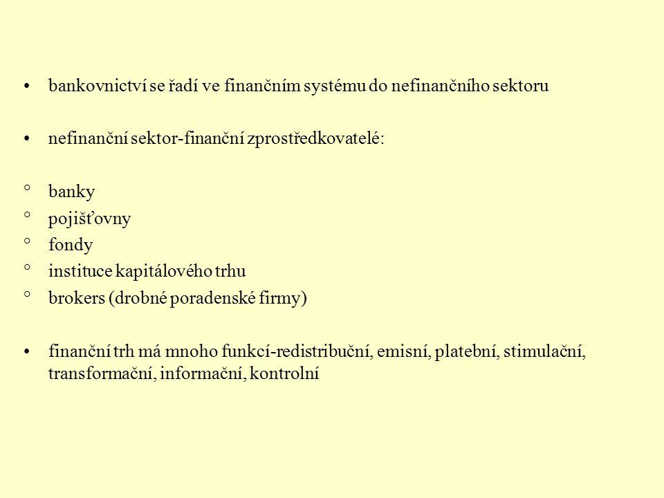 bankovnictví se řadí ve finančním systému do nefinančního sektoru nefinanční sektor-finanční zprostředkovatelé: °banky °pojišťovny °fondy °instituce k