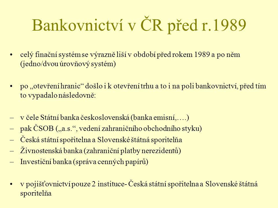 """Bankovnictví v ČR před r.1989 celý finační systém se výrazně liší v období před rokem 1989 a po něm (jedno/dvou úrovňový systém) po """"otevření hranic"""""""