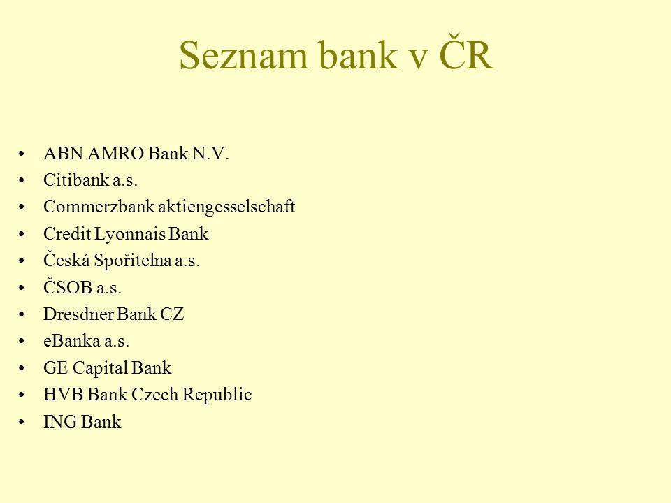 Seznam bank v ČR ABN AMRO Bank N.V. Citibank a.s. Commerzbank aktiengesselschaft Credit Lyonnais Bank Česká Spořitelna a.s. ČSOB a.s. Dresdner Bank CZ