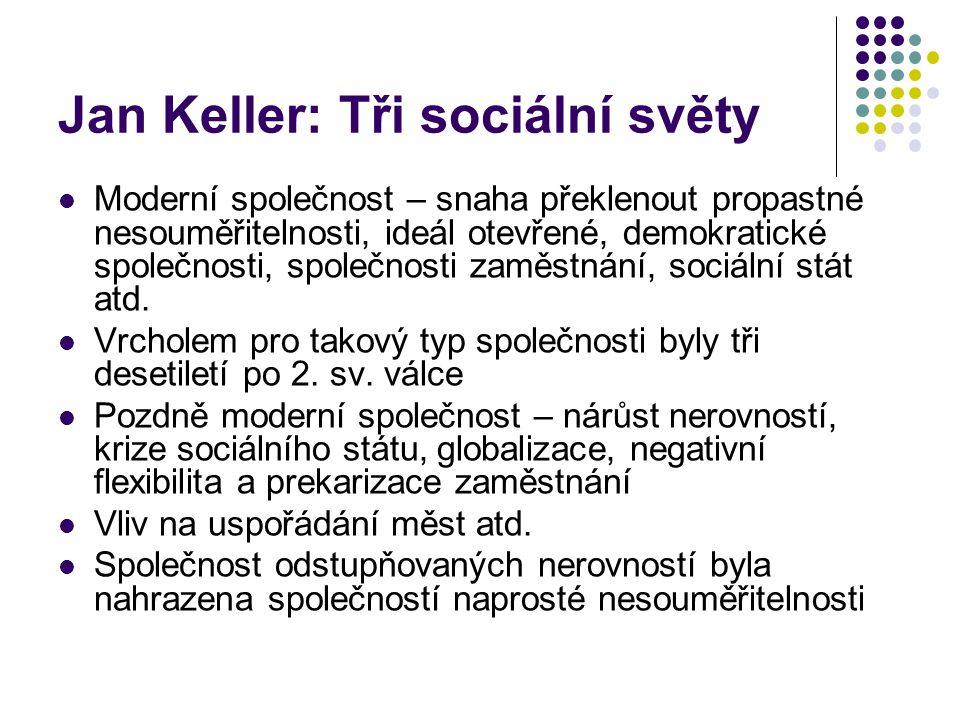 Jan Keller: Tři sociální světy Moderní společnost – snaha překlenout propastné nesouměřitelnosti, ideál otevřené, demokratické společnosti, společnost