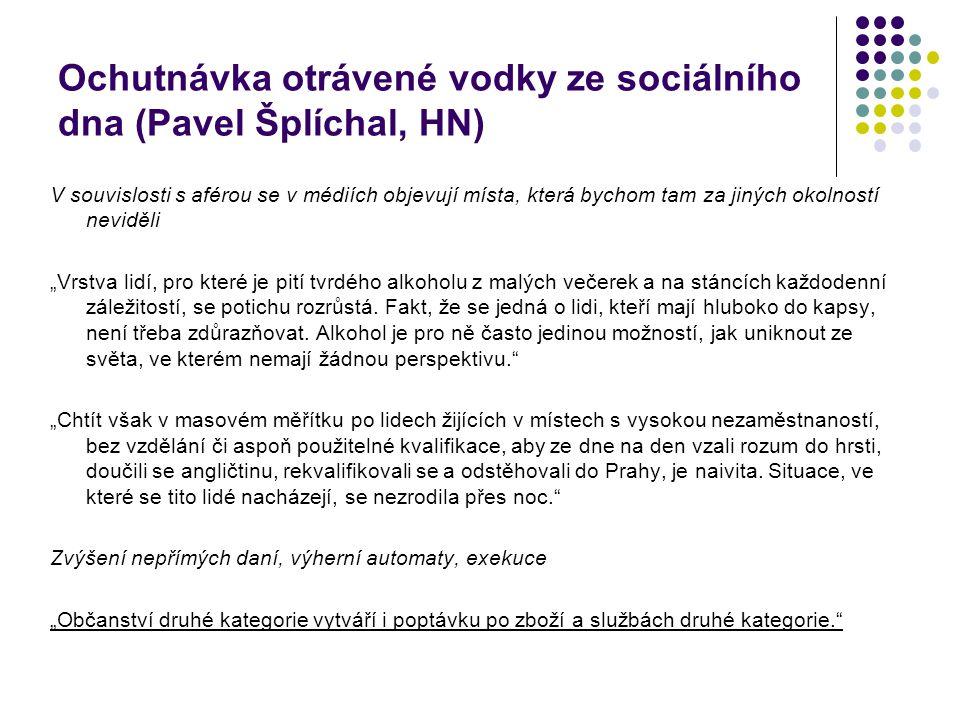 Ochutnávka otrávené vodky ze sociálního dna (Pavel Šplíchal, HN) V souvislosti s aférou se v médiích objevují místa, která bychom tam za jiných okolno