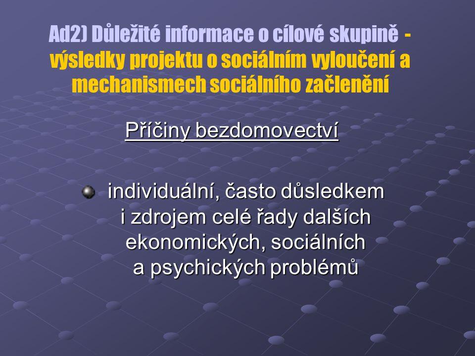 Ad2) Důležité informace o cílové skupině - výsledky projektu o sociálním vyloučení a mechanismech sociálního začlenění Příčiny bezdomovectví individuá