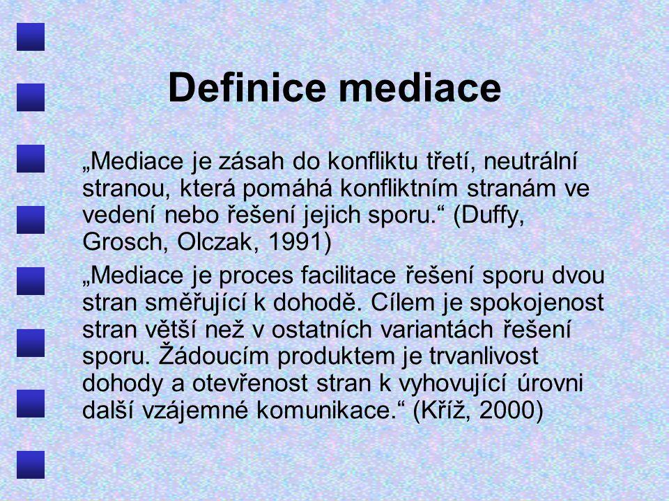 """Definice mediace """"Mediace je zásah do konfliktu třetí, neutrální stranou, která pomáhá konfliktním stranám ve vedení nebo řešení jejich sporu. (Duffy, Grosch, Olczak, 1991) """"Mediace je proces facilitace řešení sporu dvou stran směřující k dohodě."""