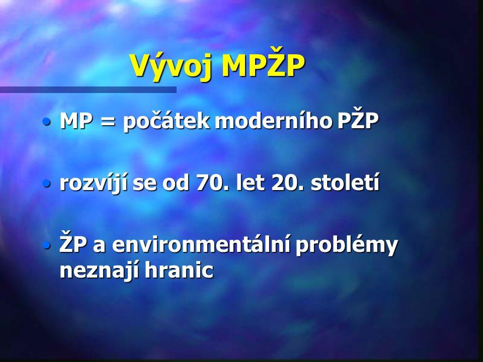 Vývoj MPŽP MP = počátek moderního PŽPMP = počátek moderního PŽP rozvíjí se od 70.