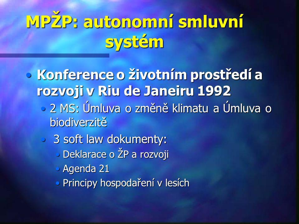 MPŽP: autonomní smluvní systém Konference o životním prostředí a rozvoji v Riu de Janeiru 1992Konference o životním prostředí a rozvoji v Riu de Janeiru 1992 2 MS: Úmluva o změně klimatu a Úmluva o biodiverzitě2 MS: Úmluva o změně klimatu a Úmluva o biodiverzitě 3 soft law dokumenty: 3 soft law dokumenty: Deklarace o ŽP a rozvojiDeklarace o ŽP a rozvoji Agenda 21Agenda 21 Principy hospodaření v lesíchPrincipy hospodaření v lesích
