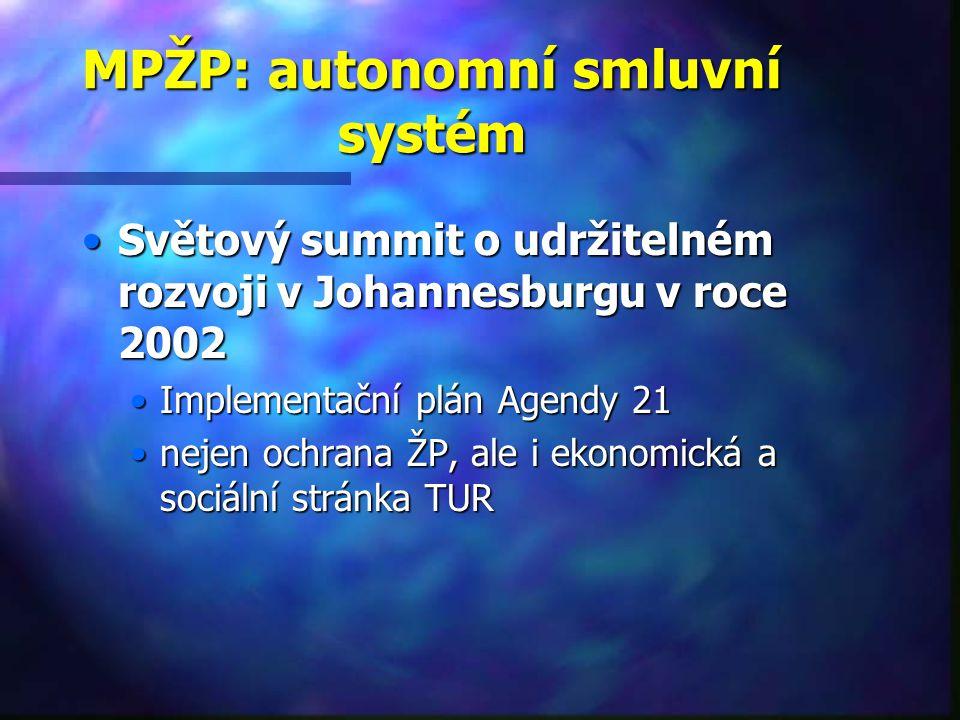 MPŽP: autonomní smluvní systém Světový summit o udržitelném rozvoji v Johannesburgu v roce 2002Světový summit o udržitelném rozvoji v Johannesburgu v roce 2002 Implementační plán Agendy 21Implementační plán Agendy 21 nejen ochrana ŽP, ale i ekonomická a sociální stránka TURnejen ochrana ŽP, ale i ekonomická a sociální stránka TUR