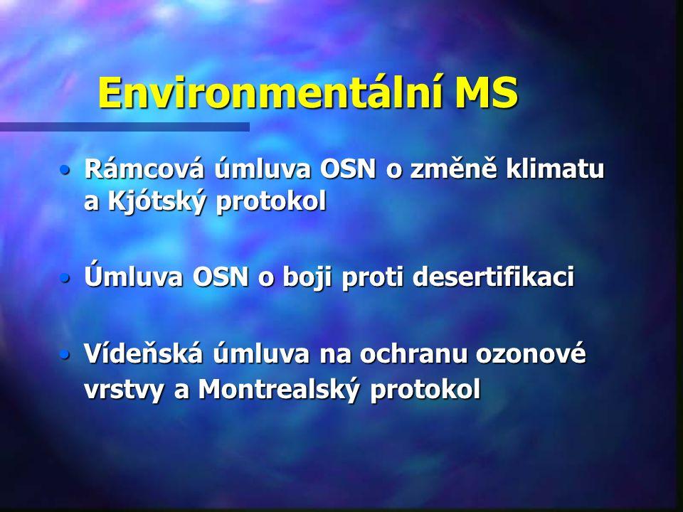 Environmentální MS Rámcová úmluva OSN o změně klimatu a Kjótský protokolRámcová úmluva OSN o změně klimatu a Kjótský protokol Úmluva OSN o boji proti desertifikaciÚmluva OSN o boji proti desertifikaci Vídeňská úmluva na ochranu ozonové vrstvy a Montrealský protokolVídeňská úmluva na ochranu ozonové vrstvy a Montrealský protokol