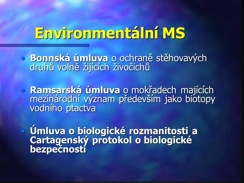 Environmentální MS Bonnská úmluva o ochraně stěhovavých druhů volně žijících živočichůBonnská úmluva o ochraně stěhovavých druhů volně žijících živočichů Ramsarská úmluva o mokřadech majících mezinárodní význam především jako biotopy vodního ptactvaRamsarská úmluva o mokřadech majících mezinárodní význam především jako biotopy vodního ptactva Úmluva o biologické rozmanitosti a Cartagenský protokol o biologické bezpečnostiÚmluva o biologické rozmanitosti a Cartagenský protokol o biologické bezpečnosti