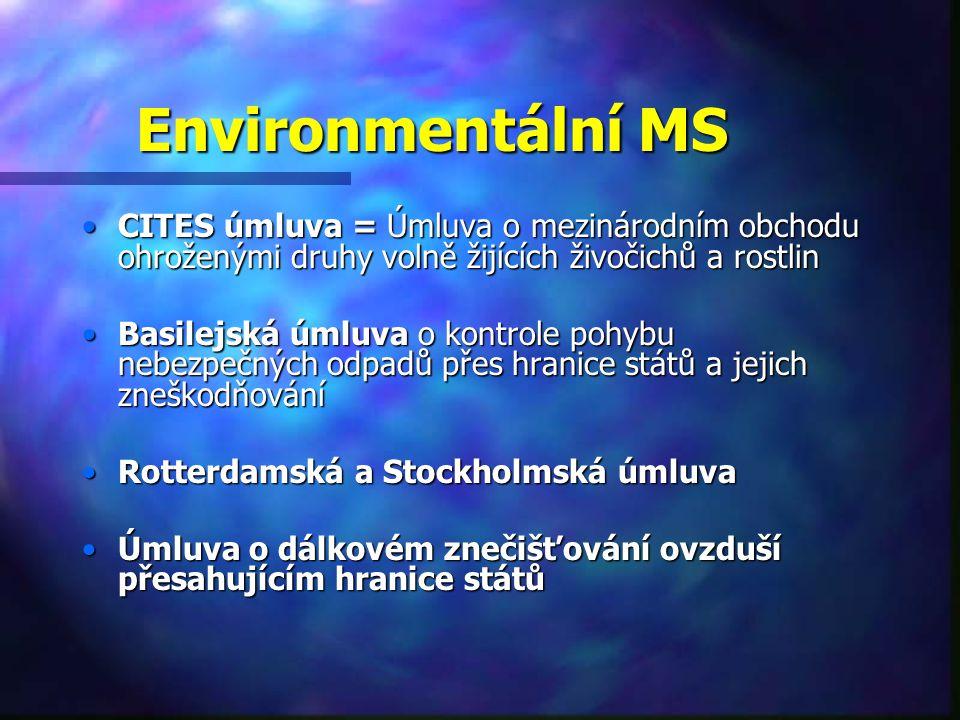 Environmentální MS CITES úmluva = Úmluva o mezinárodním obchodu ohroženými druhy volně žijících živočichů a rostlinCITES úmluva = Úmluva o mezinárodním obchodu ohroženými druhy volně žijících živočichů a rostlin Basilejská úmluva o kontrole pohybu nebezpečných odpadů přes hranice států a jejich zneškodňováníBasilejská úmluva o kontrole pohybu nebezpečných odpadů přes hranice států a jejich zneškodňování Rotterdamská a Stockholmská úmluvaRotterdamská a Stockholmská úmluva Úmluva o dálkovém znečišťování ovzduší přesahujícím hranice státůÚmluva o dálkovém znečišťování ovzduší přesahujícím hranice států