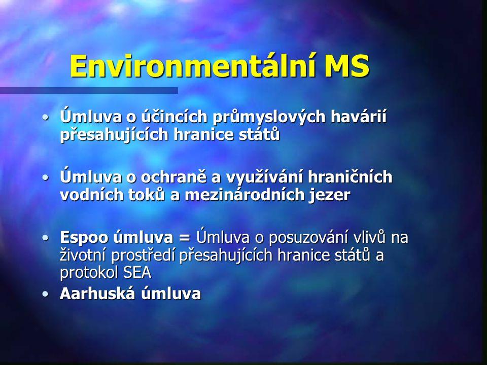 Environmentální MS Úmluva o účincích průmyslových havárií přesahujících hranice státůÚmluva o účincích průmyslových havárií přesahujících hranice států Úmluva o ochraně a využívání hraničních vodních toků a mezinárodních jezerÚmluva o ochraně a využívání hraničních vodních toků a mezinárodních jezer Espoo úmluva = Úmluva o posuzování vlivů na životní prostředí přesahujících hranice států a protokol SEAEspoo úmluva = Úmluva o posuzování vlivů na životní prostředí přesahujících hranice států a protokol SEA Aarhuská úmluvaAarhuská úmluva