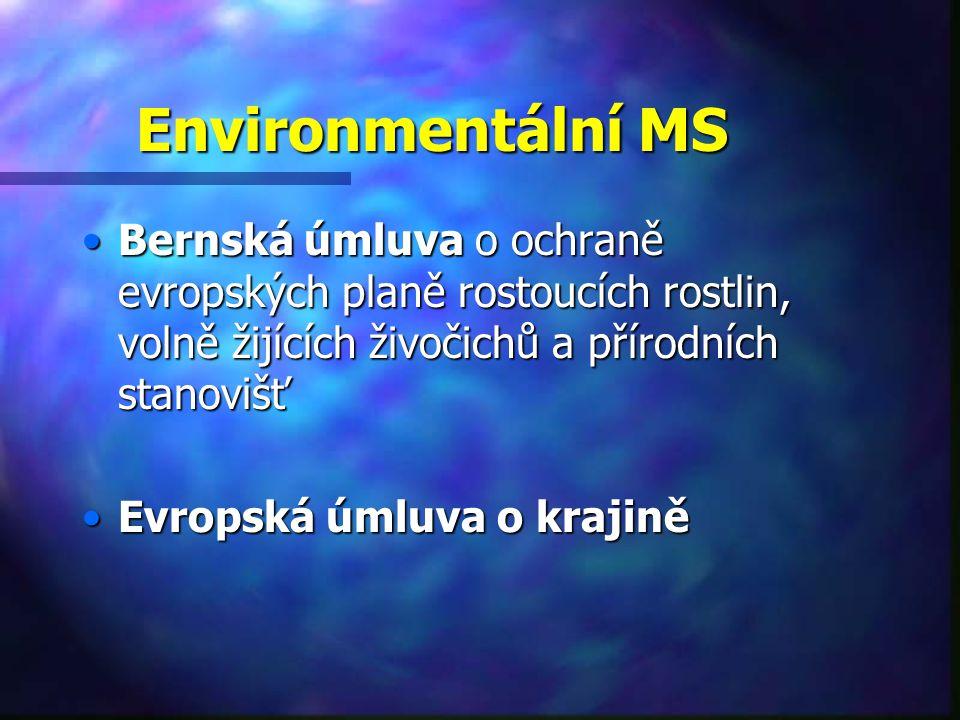 Environmentální MS Bernská úmluva o ochraně evropských planě rostoucích rostlin, volně žijících živočichů a přírodních stanovišťBernská úmluva o ochraně evropských planě rostoucích rostlin, volně žijících živočichů a přírodních stanovišť Evropská úmluva o krajiněEvropská úmluva o krajině