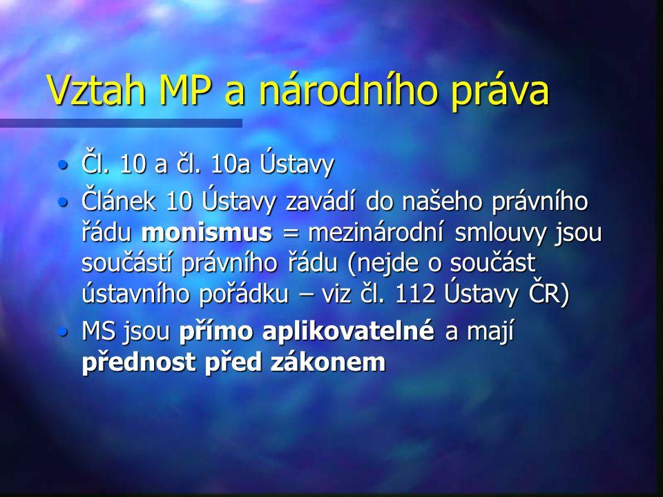 Vztah MP a národního práva Čl.10 a čl. 10a ÚstavyČl.