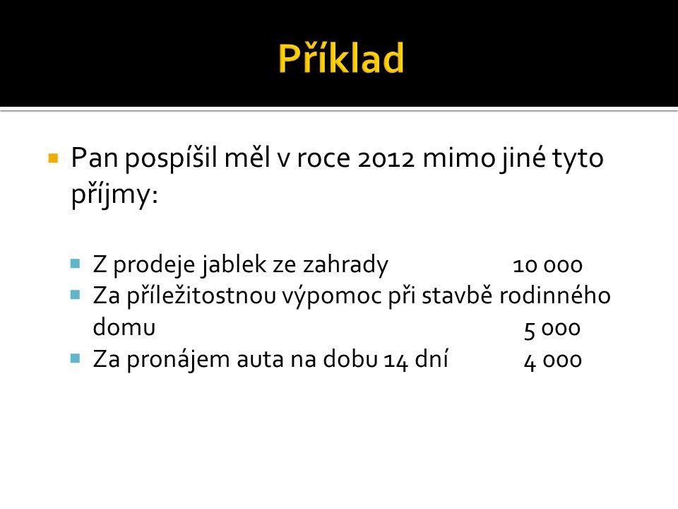  Pan pospíšil v roce 2012 nebude tyto příjmy zdaňovat, protože nepřesáhly 20 000