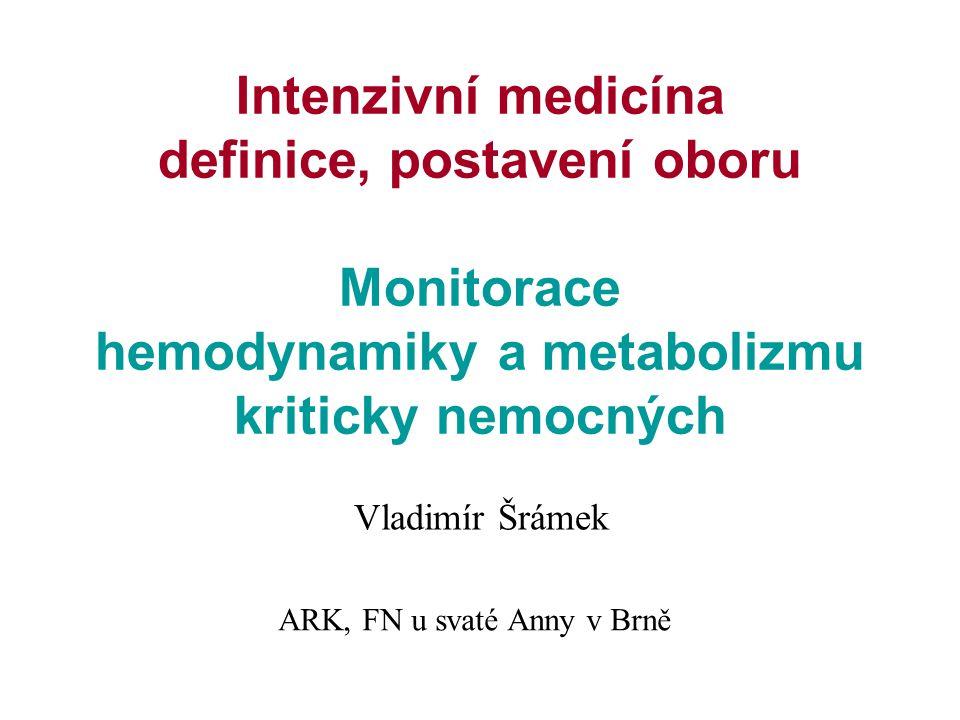 Intenzivní medicína definice, postavení oboru Monitorace hemodynamiky a metabolizmu kriticky nemocných Vladimír Šrámek ARK, FN u svaté Anny v Brně