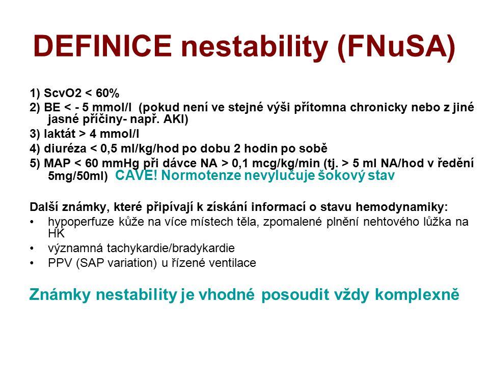 DEFINICE nestability (FNuSA) 1) ScvO2 < 60% 2) BE < - 5 mmol/l (pokud není ve stejné výši přítomna chronicky nebo z jiné jasné příčiny- např. AKI) 3)