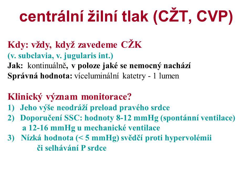 centrální žilní tlak (CŽT, CVP) Kdy: vždy, když zavedeme CŽK (v. subclavia, v. jugularis int.) Jak: kontinuálně, v poloze jaké se nemocný nachází Sprá
