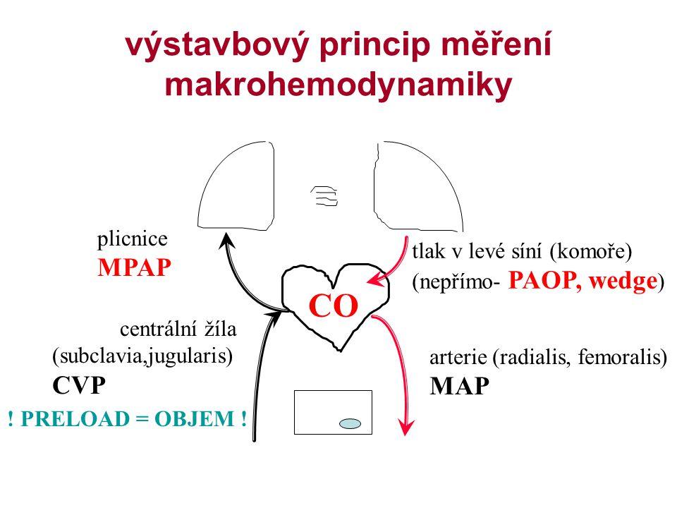 výstavbový princip měření makrohemodynamiky arterie (radialis, femoralis) MAP centrální žíla (subclavia,jugularis) CVP plicnice MPAP tlak v levé síní