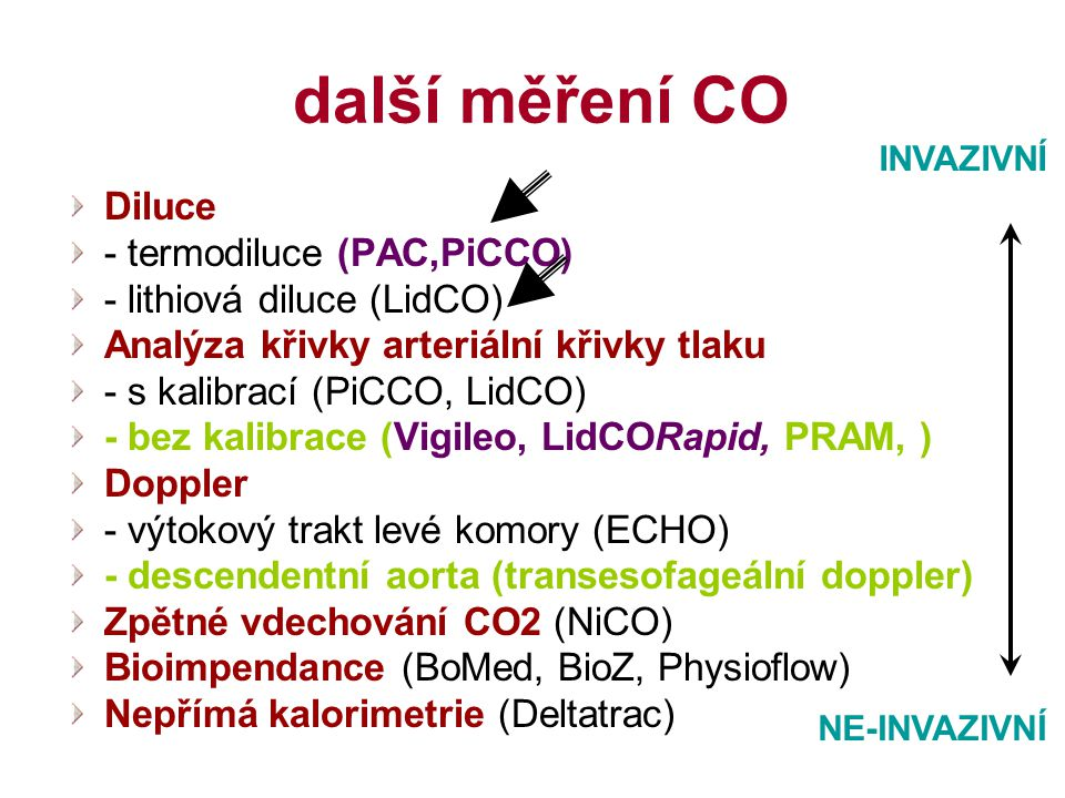 další měření CO Diluce - termodiluce (PAC,PiCCO) - lithiová diluce (LidCO) Analýza křivky arteriální křivky tlaku - s kalibrací (PiCCO, LidCO) - bez k