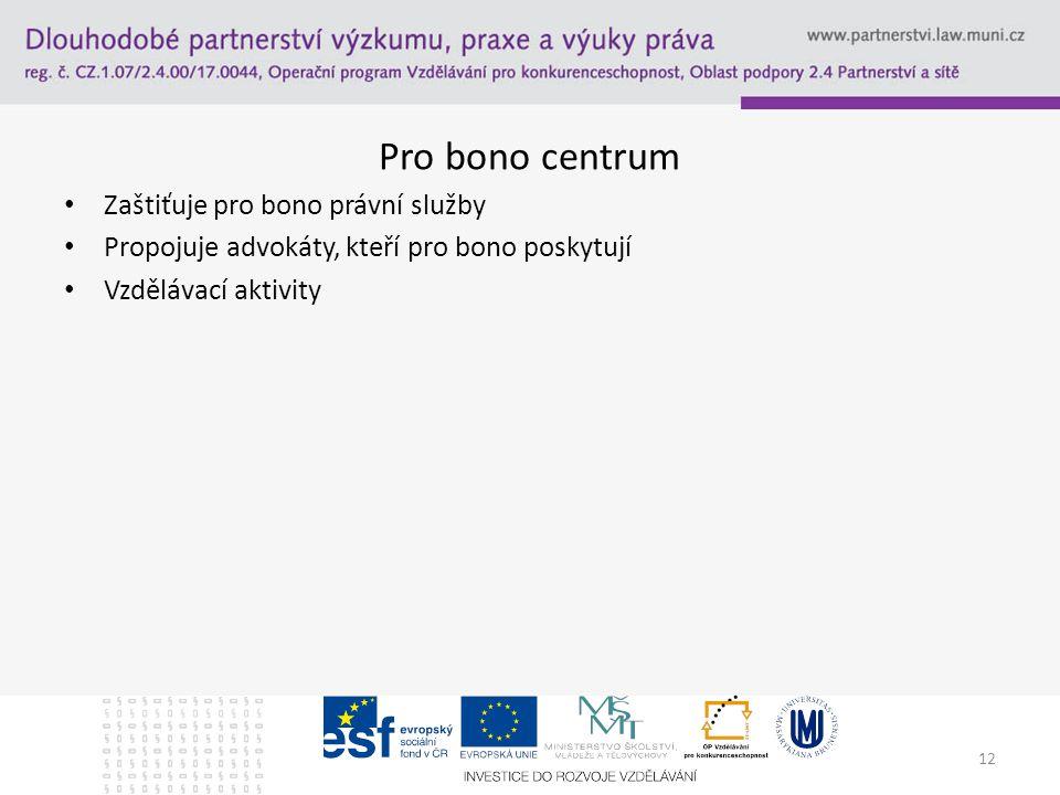 Pro bono centrum Zaštiťuje pro bono právní služby Propojuje advokáty, kteří pro bono poskytují Vzdělávací aktivity 12