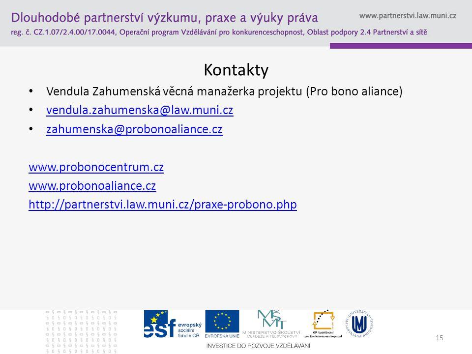 Kontakty Vendula Zahumenská věcná manažerka projektu (Pro bono aliance) vendula.zahumenska@law.muni.cz vendula.zahumenska@law.muni.cz zahumenska@probonoaliance.cz zahumenska@probonoaliance.cz www.probonocentrum.cz www.probonoaliance.cz http://partnerstvi.law.muni.cz/praxe-probono.php 15