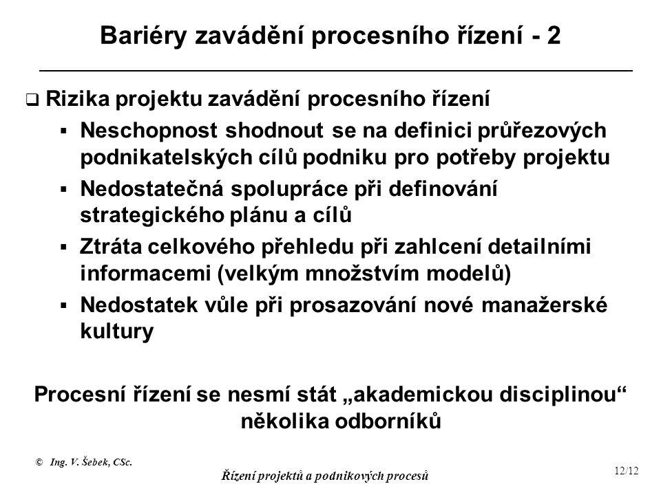 © Ing. V. Šebek, CSc. Řízení projektů a podnikových procesů 12/12 Bariéry zavádění procesního řízení - 2  Rizika projektu zavádění procesního řízení