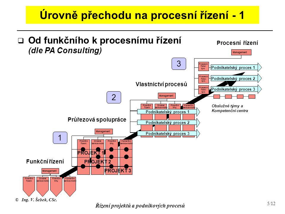© Ing. V. Šebek, CSc. Řízení projektů a podnikových procesů 5/12 Úrovně přechodu na procesní řízení - 1 Funkční řízení Průřezová spolupráce Vlastnictv