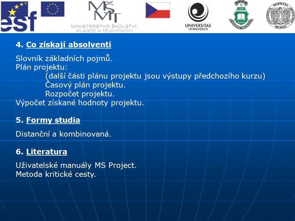 4. Co získají absolventi Slovník základních pojmů. Plán projektu: (další části plánu projektu jsou výstupy předchozího kurzu) Časový plán projektu. Ro