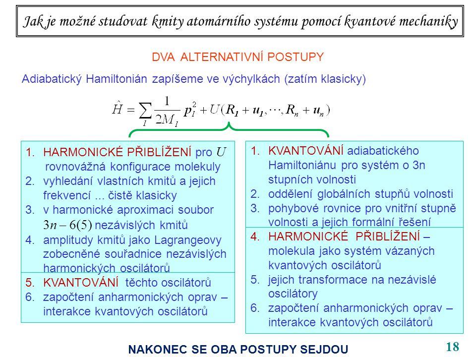 18 Jak je možné studovat kmity atomárního systému pomocí kvantové mechaniky DVA ALTERNATIVNÍ POSTUPY Adiabatický Hamiltonián zapíšeme ve výchylkách (zatím klasicky) 1.KVANTOVÁNÍ adiabatického Hamiltoniánu pro systém o 3n stupních volnosti 2.oddělení globálních stupňů volnosti 3.pohybové rovnice pro vnitřní stupně volnosti a jejich formální řešení 4.HARMONICKÉ PŘIBLÍŽENÍ – molekula jako systém vázaných kvantových oscilátorů 5.jejich transformace na nezávislé oscilátory 6.započtení anharmonických oprav – interakce kvantových oscilátorů 1.HARMONICKÉ PŘIBLÍŽENÍ pro U rovnovážná konfigurace molekuly 2.vyhledání vlastních kmitů a jejich frekvencí...