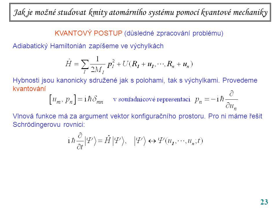 23 KVANTOVÝ POSTUP (důsledné zpracování problému) Adiabatický Hamiltonián zapíšeme ve výchylkách Hybnosti jsou kanonicky sdružené jak s polohami, tak s výchylkami.