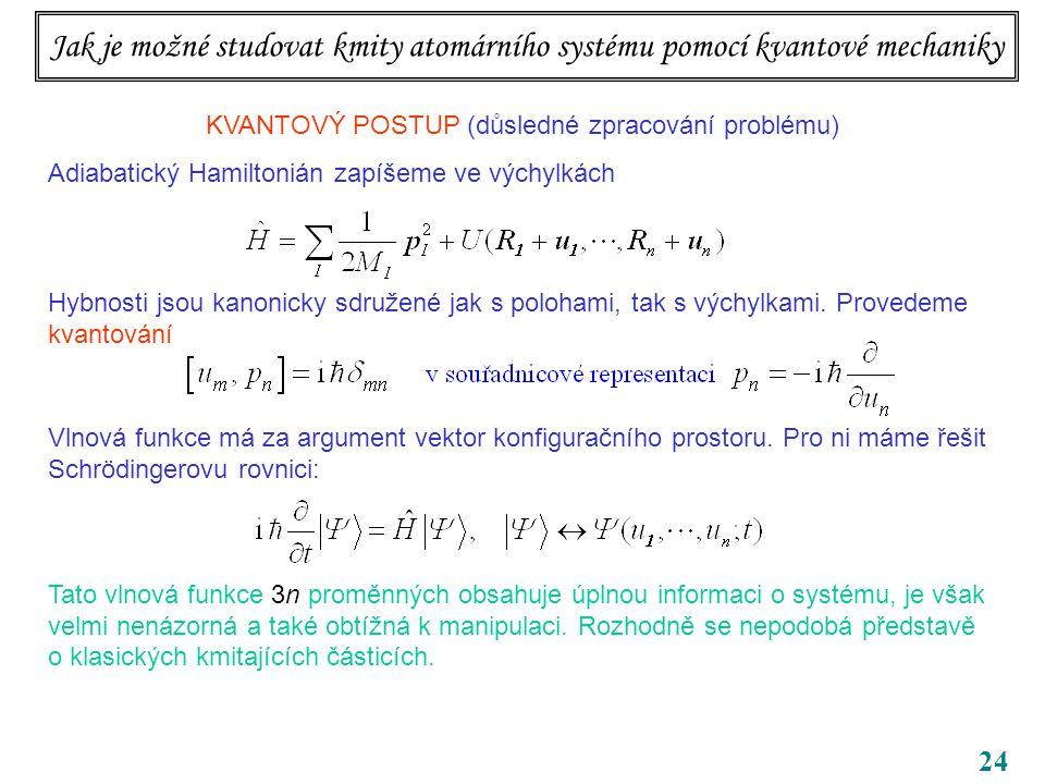 24 KVANTOVÝ POSTUP (důsledné zpracování problému) Adiabatický Hamiltonián zapíšeme ve výchylkách Hybnosti jsou kanonicky sdružené jak s polohami, tak s výchylkami.