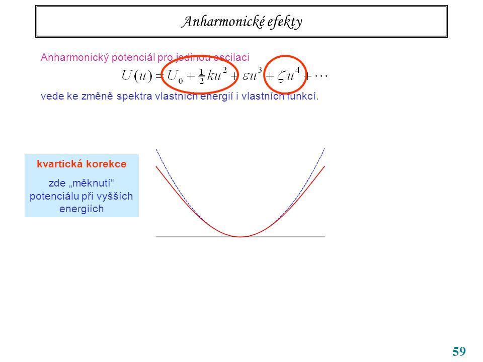 59 Anharmonické efekty Anharmonický potenciál pro jedinou oscilaci vede ke změně spektra vlastních energií i vlastních funkcí.