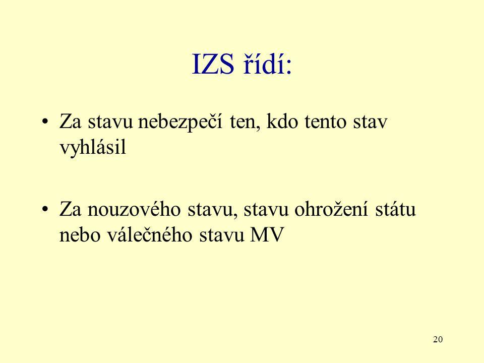 20 IZS řídí: Za stavu nebezpečí ten, kdo tento stav vyhlásil Za nouzového stavu, stavu ohrožení státu nebo válečného stavu MV
