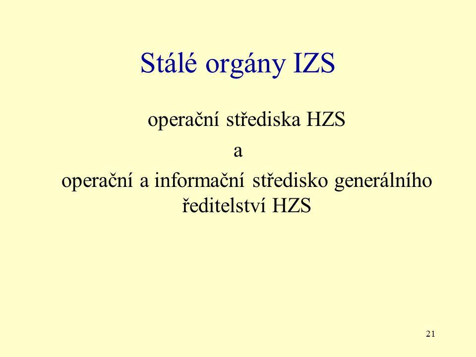 21 Stálé orgány IZS operační střediska HZS a operační a informační středisko generálního ředitelství HZS