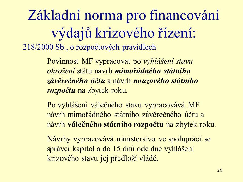 26 Základní norma pro financování výdajů krizového řízení: 218/2000 Sb., o rozpočtových pravidlech Povinnost MF vypracovat po vyhlášení stavu ohrožení státu návrh mimořádného státního závěrečného účtu a návrh nouzového státního rozpočtu na zbytek roku.