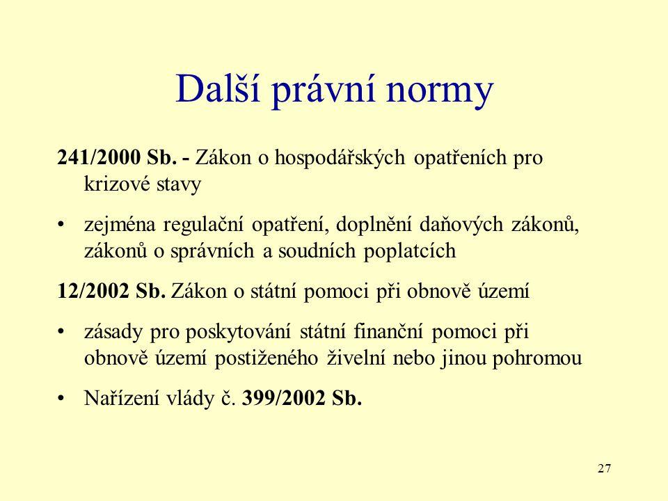 27 Další právní normy 241/2000 Sb. - Zákon o hospodářských opatřeních pro krizové stavy zejména regulační opatření, doplnění daňových zákonů, zákonů o