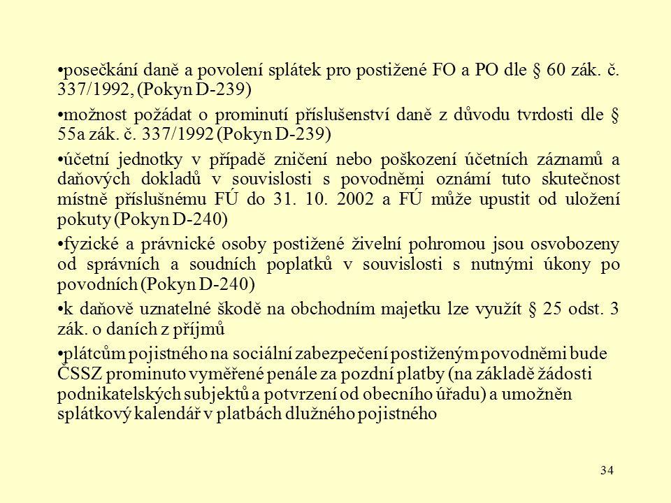 34 posečkání daně a povolení splátek pro postižené FO a PO dle § 60 zák. č. 337/1992, (Pokyn D-239) možnost požádat o prominutí příslušenství daně z d
